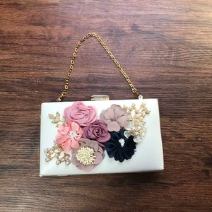 Handbags - Flower Appliqué Hard Case Clutch